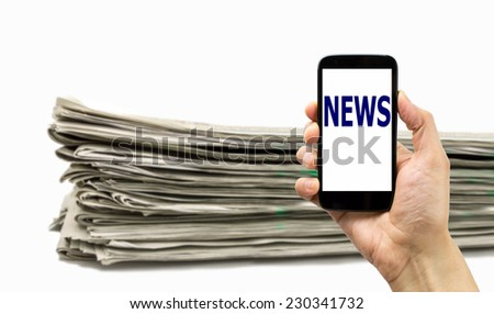 Modern smartphone with news and newspaper isolated on white - stock photo