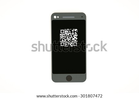 modern smartphone with qr code on sceen  - stock photo