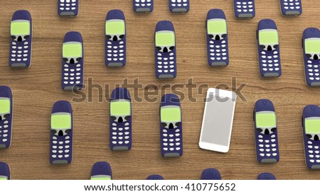 Modern smartphone without buttons among many older phones, the 3D illustration concept of leadership - stock photo