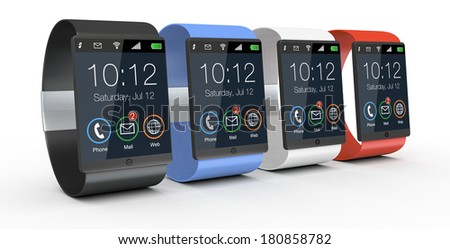 modern smartwatches with watch strap in different colors (3d render) - stock photo