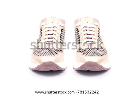Modern sneakers isolated on white background. Blue with yellow