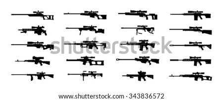 Modern sniper rifles set.