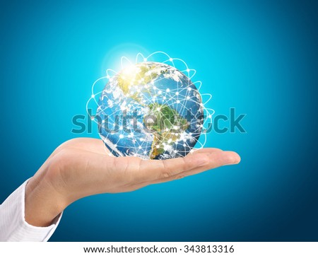 modern social buttons in hand - stock photo