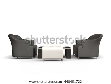 Modern sofa and two armchairs with two ottomans and small coffee tables between them - 3D Illustration - on white background
