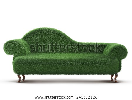 Modern sofa covered with bright green grass. 3d rendered.  - stock photo