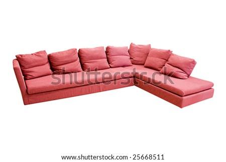modern sofa over white background - stock photo