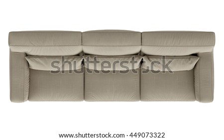 modern sofa , top view,  isolated on white background - stock photo