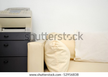 modern sofa fax machine office objects stock photo royalty free