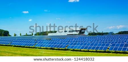 Modern solar panels in Europe. - stock photo