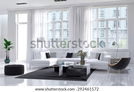Modern spacious airy living room interior with white and black decor with an upholstered suite below large windows giving a view of an apartment block. 3d Rendering - stock photo