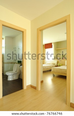 Modern Spacious Bedroom and bathroom - stock photo