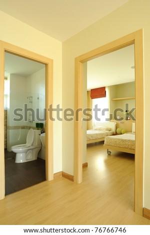 Modern Spacious Bedroom and bathroom - stock photo