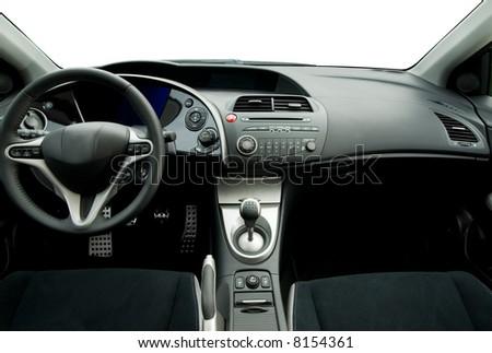 Modern sport car interior - stock photo