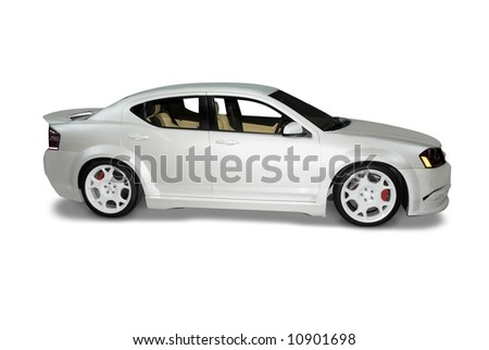 Modern sports car isolated on a white background. A realistic shadow detail is drawn in under the car. Clipping path included for the car, minus the shadow, is included.