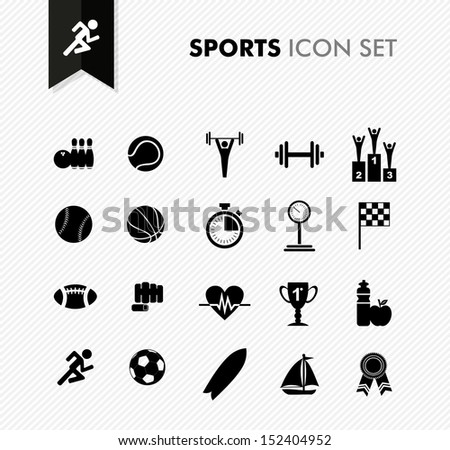 Modern sports workout and exercise icon set. - stock photo