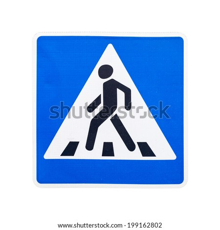 Modern square pedestrian crossing road sign isolated on white - stock photo