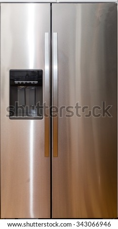 Modern Stainless Steel Refrigerator with Digital Display