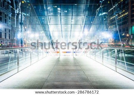 Modern staircase to the subway at Dilworth Park at night, in Philadelphia, Pennsylvania. - stock photo