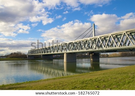 Modern steel bridge across the River Rhine, Germany - stock photo