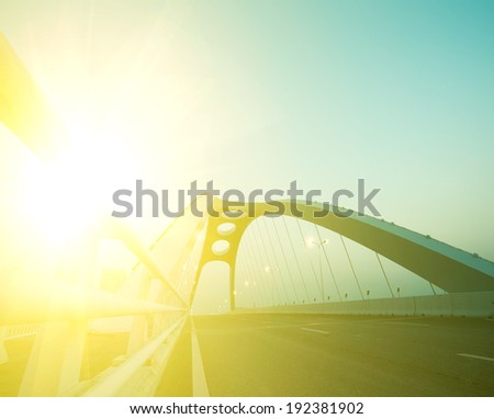 Modern steel bridge structure at night scene - stock photo