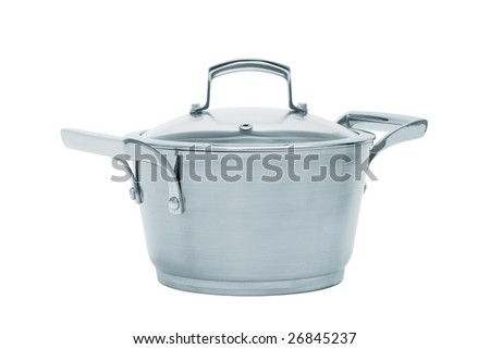 Modern steel saucepan on a white background