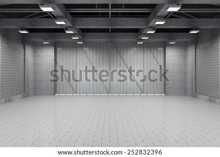 Modern Storehouse 3D Interior with Closed Doors. 3D Rendering - stock photo