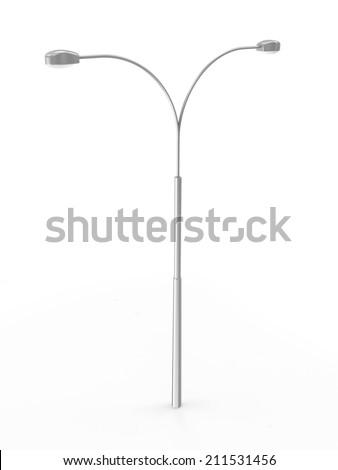 Modern Street Lamp isolated on white background - stock photo