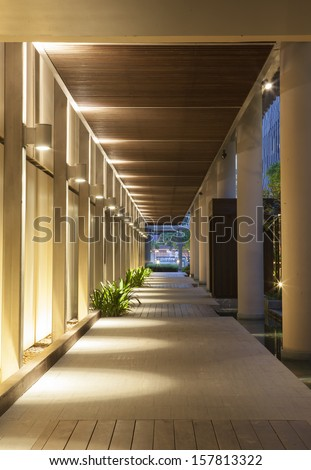Modern structure corridor in hotel. - stock photo