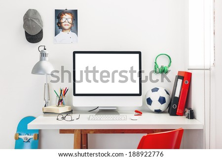 Modern study room for a boy./ Desk in a child's bedroom. - stock photo