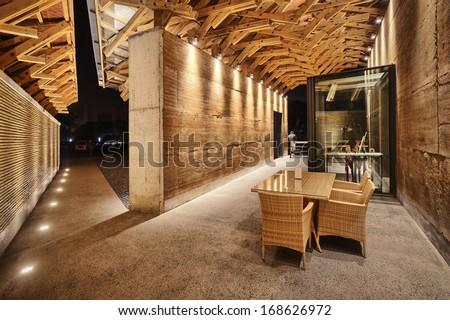 Modern style corridor interior  - stock photo