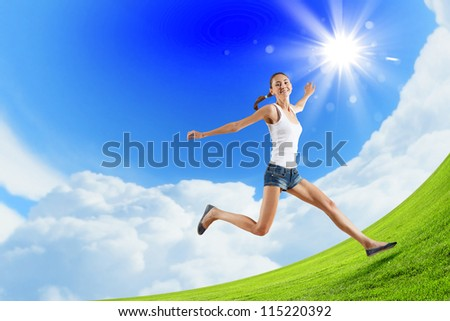 Modern style dancer jumping and posing. Illustration - stock photo