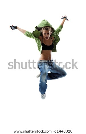 modern style dancer jumping on isolated background - stock photo