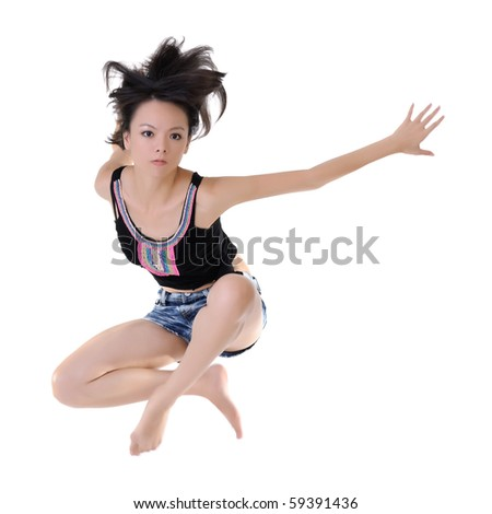 Modern style dancer jumping on white studio background. - stock photo
