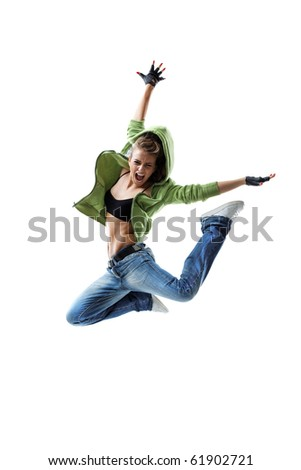 modern style dancer posing on white background - stock photo
