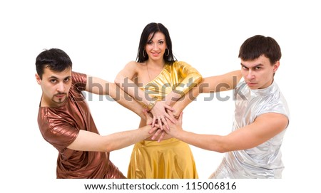modern style dancers posing on a white background - stock photo