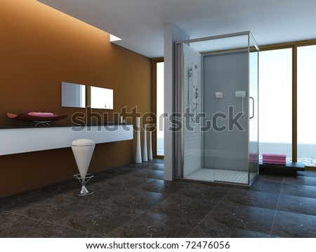 Modern style design of a bathroom - stock photo