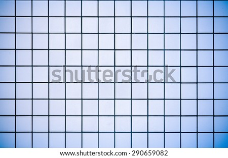 Modern style design of white and blue mosaic tile texture wall of floor wall pattern decorate /White and blue mosaic tiles texture/ Light blue mosaic tiles texture (modern, texture, wall) - stock photo
