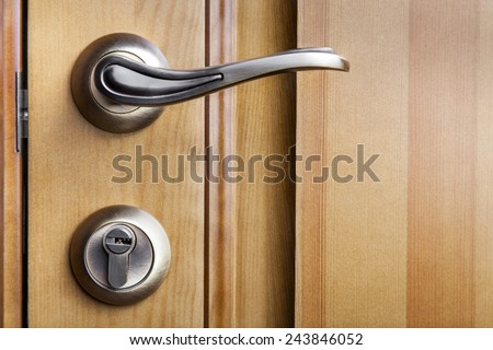 Modern style door handle on natural wooden door - stock photo