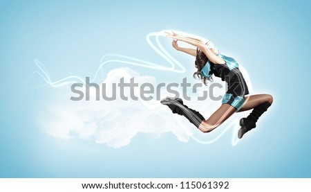 Modern style female dancer jumping and posing. Illustration - stock photo
