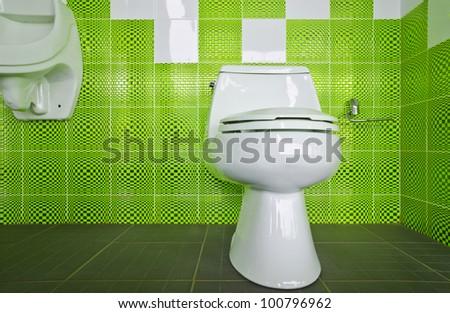 Modern style interior design of a bathroom - stock photo