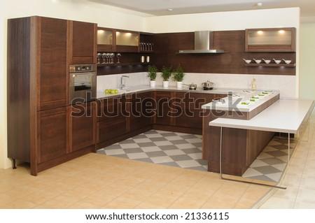 Modern style kitchen - stock photo