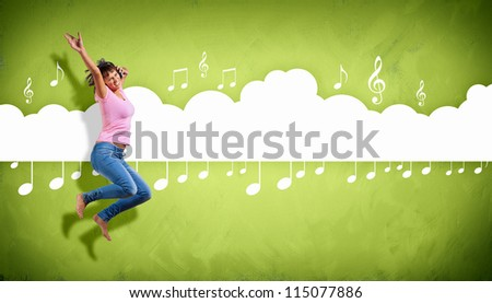 Modern style male dancer jumping and posing. Illustration - stock photo