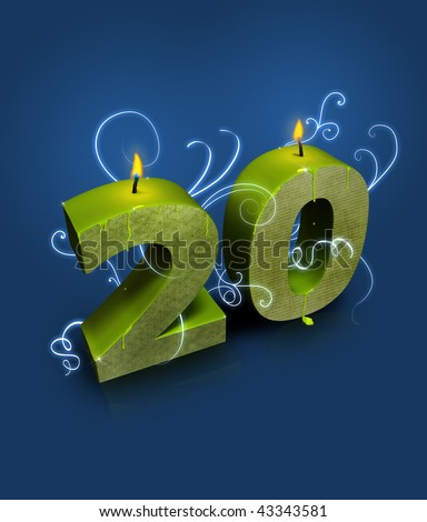 Modern style number 20, appropriate for 20th birthday or anniversary - stock photo