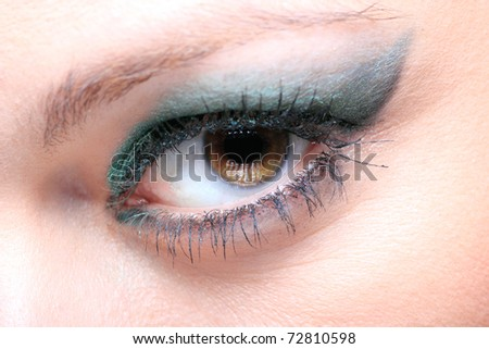 Modern style of blue make-up. Beautiful woman eyes