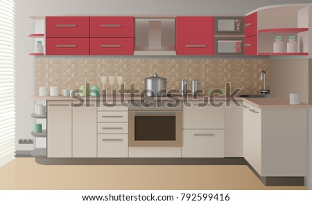 Modern Style Realistic Kitchen Interior Create For Presentation Catalog Or Advertising In Magazine Illustration