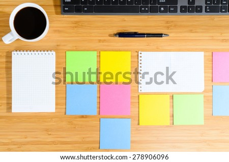 modern stylish work place, view from above - stock photo