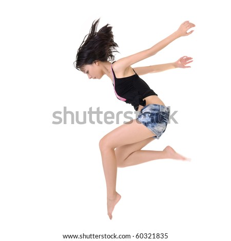 Modern stylish young beauty dancing and posing on white background. - stock photo