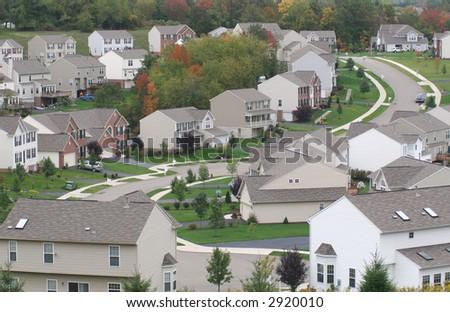 Modern suburban neighborhood. - stock photo