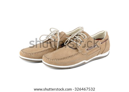 Modern suede men shoes isolated on a white background - stock photo