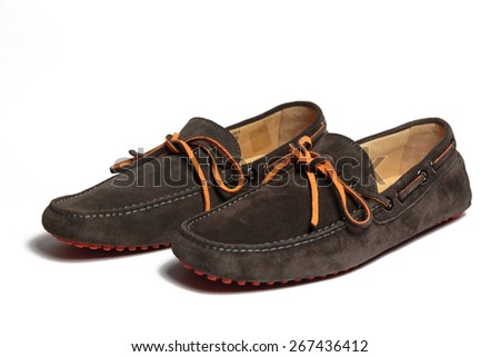 Modern suede men shoes isolated on the white background - stock photo